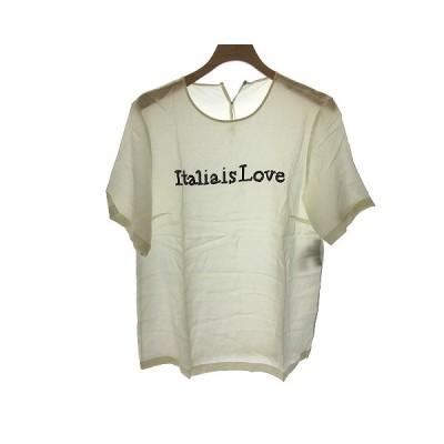 【中古】ドルチェ&ガッバーナ ドルガバ DOLCE&GABBANA Tシャツ カットソー 半袖 シルク 40 白 ホワイト /NT18 レディース 【ベクトル 古着】