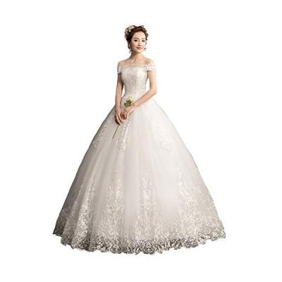 ウエディングドレス オフショルダー ロング Aライン ノースリーブ レースアップ 花嫁衣装 純白 (XXL)