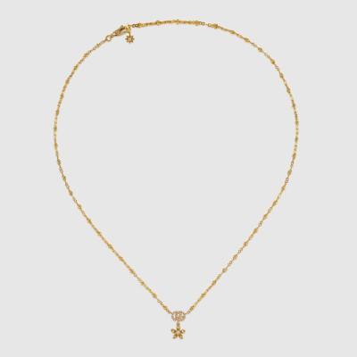 〔グッチ フローラ〕ダイヤモンド付き 18K ネックレス