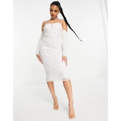 エイソス レディース ワンピース トップス ASOS DESIGN cold shoulder sequin midi pencil dress in white