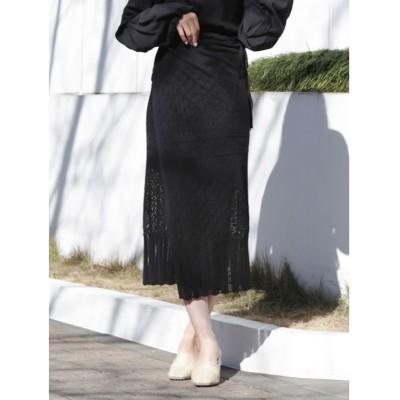 【ダズリン】 クロシェレディライクタイトスカート レディース ブラック F dazzlin
