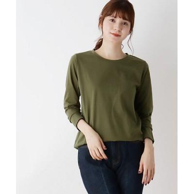 <SHOO LA RUE(Women)/シューラルー>【M-LL】ラウンドヘムベーシックTシャツ カーキ026【三越伊勢丹/公式】