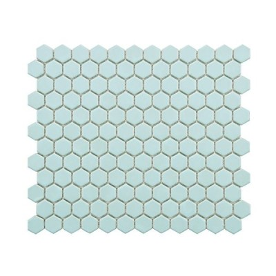 SomerTile fxlm1hmlレトロ六角マット磁器床と壁タイル、10.25インチx 11.75インチ、ライトブルー