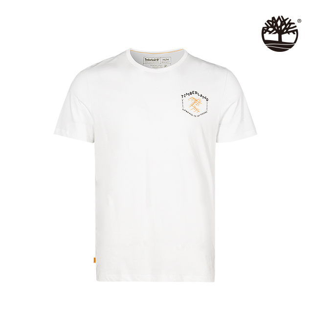 Timberland 男款白色雙面印花有機棉圓領短袖T恤|A259E100