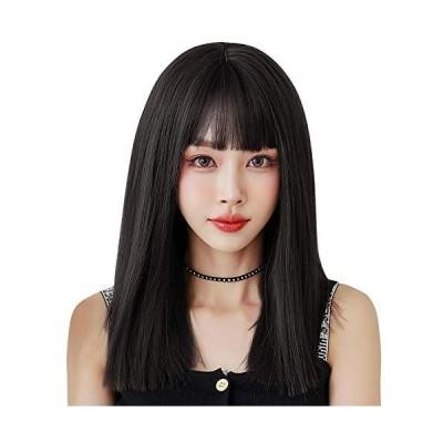 ウィッグ ストレート セミロング ULSTAR フルウィッグ 自然 レディース wig ぱっつん前髪 小顔効果 耐熱 (?茶色)