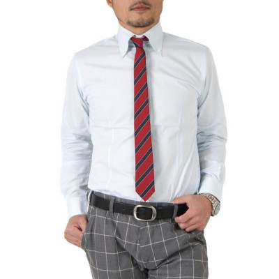 (SantaReet/サンタリート)日本製ブロードデュエボタンダウンシャツ(GW-A8629)/メンズ ブルー系2