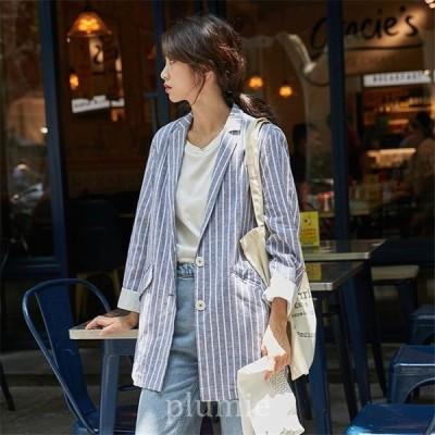 レディースサマージャケットジャケットテーラードジャケットブラックグレー長袖薄手ゆったり春服カジュアルオフィス通勤OL