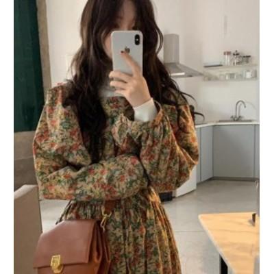 韓国 ファッション レディース ワンピース 花柄 ロング ハイウエスト フレア 長袖 ゆったり レトロ カジュアル 大人可愛い