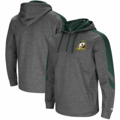 Colosseum コロセウム スポーツ用品  Colosseum Oregon Ducks Charcoal/Green Lawrence Quarter-Zip Pullover Hoodie