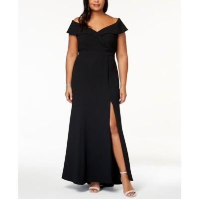エックススケープ XSCAPE レディース パーティードレス ワンピース・ドレス Plus Size Off-The-Shoulder Slit Gown Black