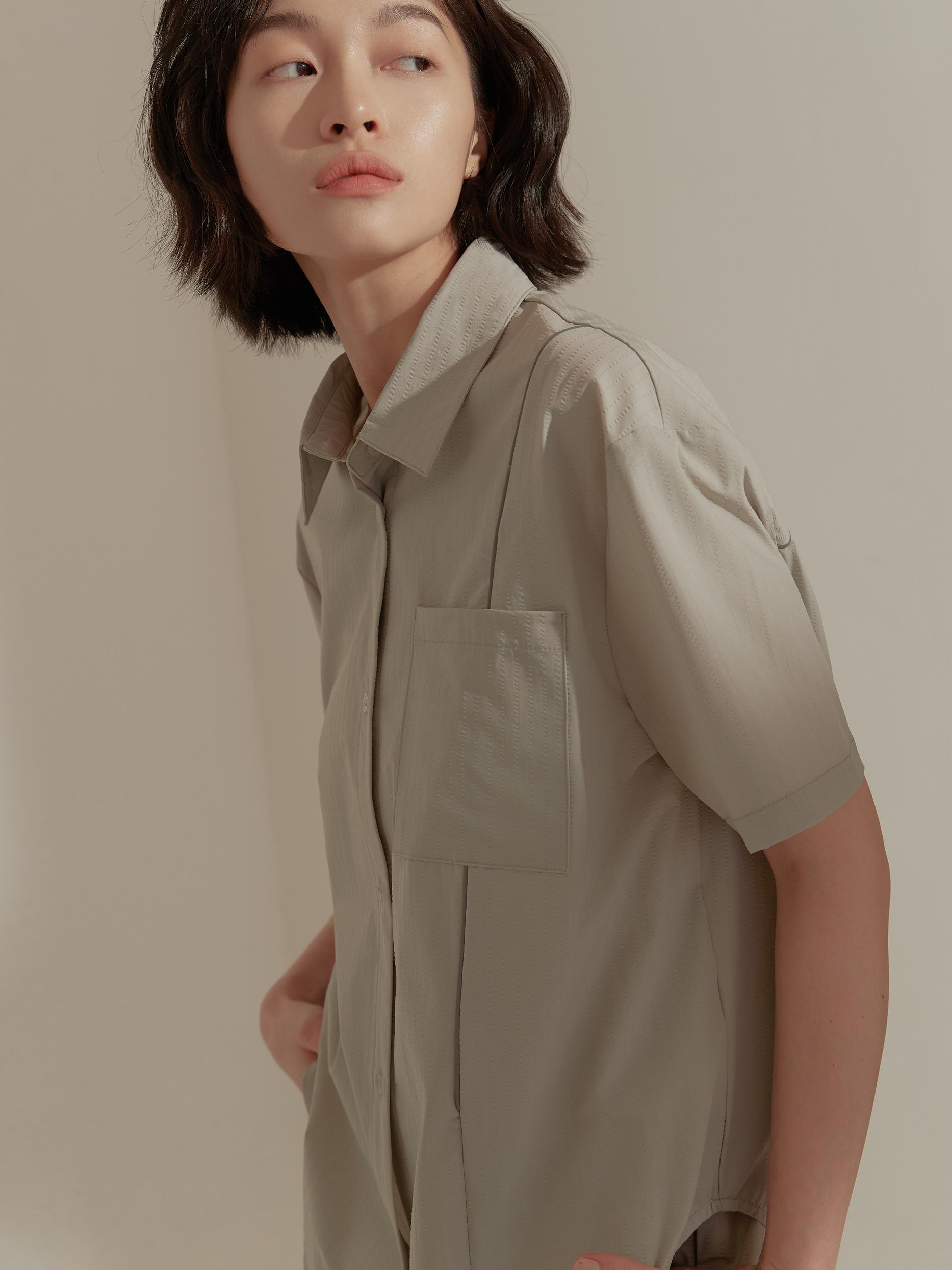 出芽細節五分袖襯衫-mouggan