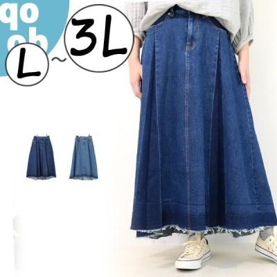 デニムパネルプリーツスカート デニムスカート 大きいサイズ レディース L LL 3L
