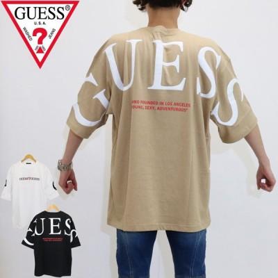 GUESS (ゲス) ショート スリーブ ml2k8530mi ワイドシルエット 半袖 Tシャツ 男女兼用 ビッグロゴ バック プリント 大きめ ビッグ