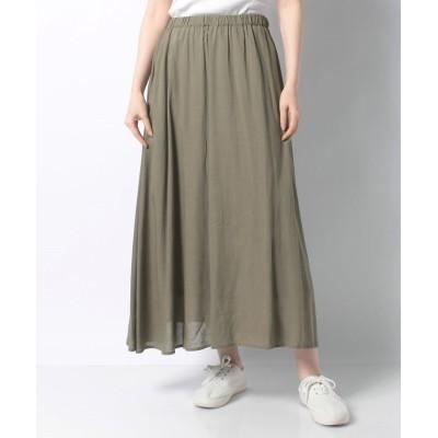 (PREFERIR/プレフェリール)【TV着用】リネン混ギャザースカート/レディース カーキ