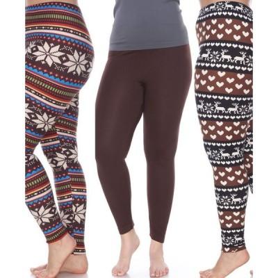 ホワイトマーク レディース カジュアルパンツ ボトムス Pack of 3 Plus Size Leggings