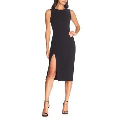 ドレスザポプレーション レディース ワンピース トップス Simone Boat Neck Sleeveless Scoop Back Zipper Leg Sheath Midi Dress Black