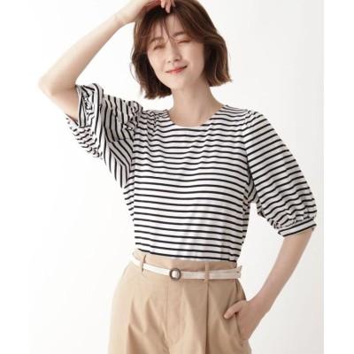 (SHOO・LA・RUE DRESKIP/シューラルー ドレスキップ)ひんやり袖ギャザーTシャツ/レディース ブラック×ホワイト(319)