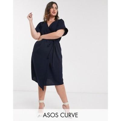 エイソス レディース ワンピース トップス ASOS DESIGN Curve wrap midi dress in navy