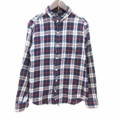 【中古】シップスジェットブルー SHIPS JET BLUE ネルシャツ チェック 長袖 S 紺 ネイビー 赤 ベージュ /YK メンズ
