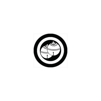 家紋シール 丸に二つ鈴紋 直径10cm 丸型 白紋 2枚セット KS10M-0716W