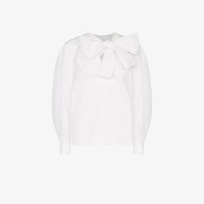 ガニー GANNI レディース ブラウス・シャツ トップス pussybow cotton blouse white