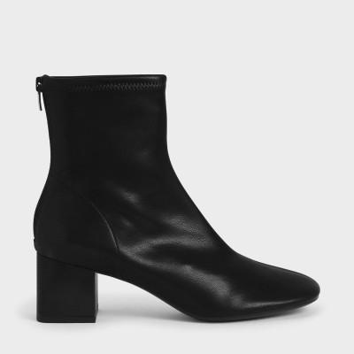 【再入荷】ステッチトリム ブロックヒールアンクルブーツ / Stitch-Trim Block Heel Ankle Boots (Black)