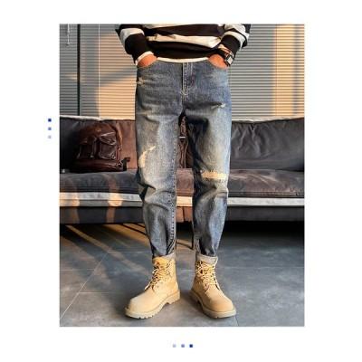 ジーンズ メンズ スキニーパンツ パッチワーク スキニーデニムパンツ デニムパンツ デニム パンツ スリム 個性的