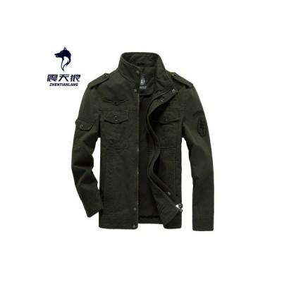 ジャケット メンズ カーゴジャケット ミリタリー マルチポケット 春 秋 長袖 アウター 薄手 純色 ワークジャケット 3色展開 大きいサイズあり