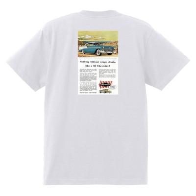 アドバタイジング シボレー ベルエア 1956 Tシャツ 071 白 アメ車 ホットロッド ローライダー広告 アドバタイズメント