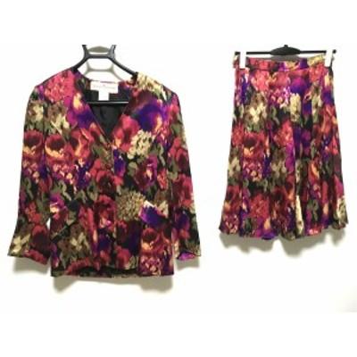 ハナエモリ HANAE MORI スカートスーツ サイズ38 M レディース 黒×マルチ 肩パッド/花柄【中古】20201111