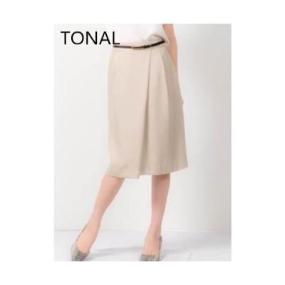 【感謝価格】【TONAL】フェイクリネンタイトスカート