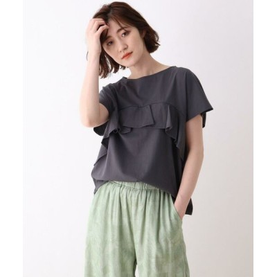 SHOO・LA・RUE/シューラルー コットンフリルTシャツ ディープグレー(015) 02(M)