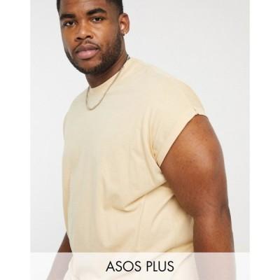 エイソス ASOS DESIGN メンズ Tシャツ ロング トップス Plus Oversized Longline T-Shirt With Roll Sleeve In Beige ウォームサンド