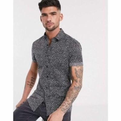 エイソス ASOS DESIGN メンズ シャツ トップス skinny spot print shirt ブラック