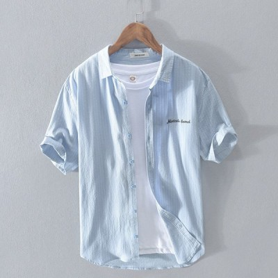 カジュアルシャツ ストライプ メンズ 半袖 前開き ワンポイント 英文字 ライトアウター 春 夏