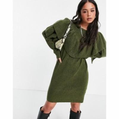 ヴィラ Vila レディース ワンピース ワンピース・ドレス ruffle jumper dress in ivy アイビーグリーン