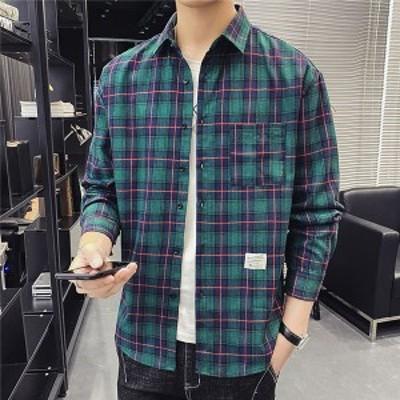 長袖シャツ メンズ トップス スリムシャツ チェックシャツ カジュアルシャツ チェック柄 紳士服 長袖 開襟シャツ 春秋服