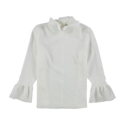 レディース 衣類 トップス Ellen Tracy Womens Cloque Bell Sleeve Pullover Blouse White PM ブラウス&シャツ