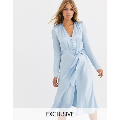 ゴースト レディース ワンピース トップス Ghost exclusive Meryl satin tie front midi dress