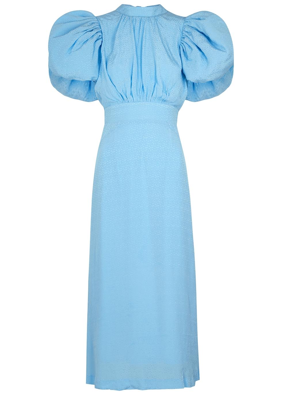 Dawn light blue jacquard midi dress