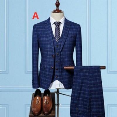 メンズ 3ピーススーツ チェック柄 ビジネススーツ メンズスーツ フォーマルスーツ 3点セット セットアップスーツ 成人式 結婚式 スーツ