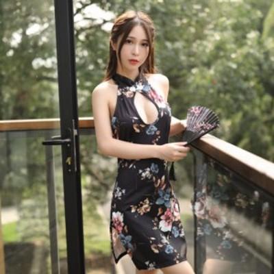 チャイナドレス「ストレッチフラワープリント素材チャイナセクシードレス」 和柄、よさこい、おいらん、着物 キャバ 花魁 コスプレ