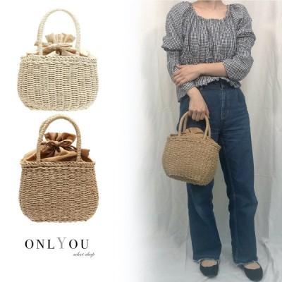 巾着ペーパーハンドバッグ かご 編み シンプル バッグ レディース bag 小さめ 軽い おしゃれ 夏 巾着 ハンドバッグ
