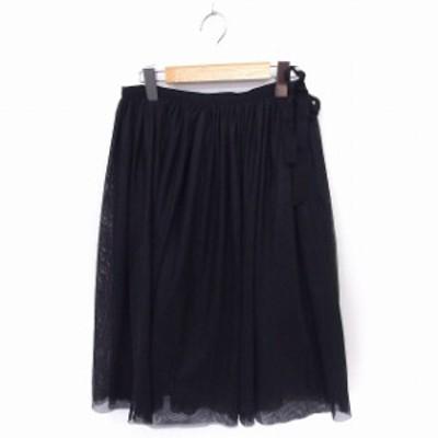 【中古】アダムエロペ Adam et Rope' スカート チュール ギャザー リボン ロング 36 ブラック 黒 /FT25 レディース