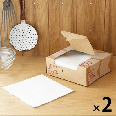 カウンタークロス 使い切りふきん キッチンダスター ハーフサイズ ホワイト 1セット(30枚×2箱) ロハコ(LOHACO)オリジナル