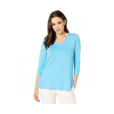 FDJ French Dressing Jeans レディース 女性用 ファッション Tシャツ Baby French Terry V-Neck 3/4 Sleeve Top - Artic Blue