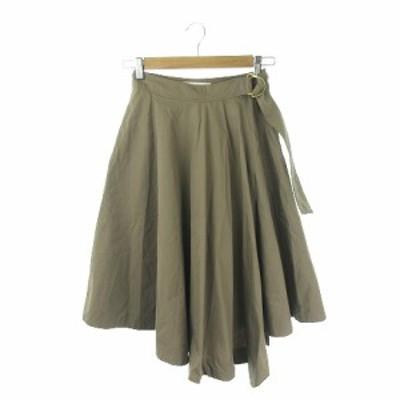 【中古】トランテアン ソン ドゥ モード 31 Sons de mode スカート フレア ヘム ミモレ ロング 36 緑 カーキ