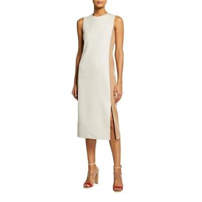 アクリス レディース ワンピース トップス Double-Face Bicolor Sleeveless Sheath Dress