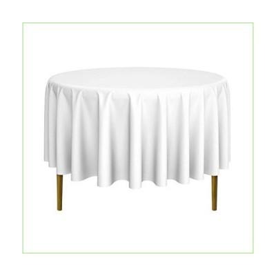 (230cm Diameter, White) - Lann's Linens - 230cm Round Premium Tablecloth for Wedding/Banquet / Restaurant - Polyester Fabric Table Cloth - W