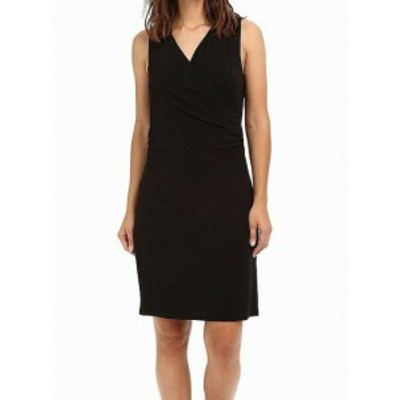 HEATHER  ファッション ドレス Heather NEW Black Womens Size P Petite Sheath Surplice Jersey Dress